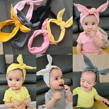 2018 ใหม่แฟชั่นเด็ก Headbands กระต่ายหูอุปกรณ์เสริมผมน่ารักสำหรับเด็กเล็กยืดหยุ่นผ้าพันคอขายส่ง