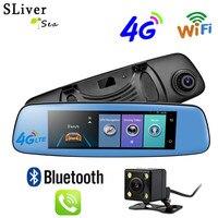 SLIVERYSEA gps навигация 4G Android 5,1 Автомобильный dvr зеркало заднего вида FHD 1080P тире камера автомобиля видеомагнитофон DVRs двойная камера gps