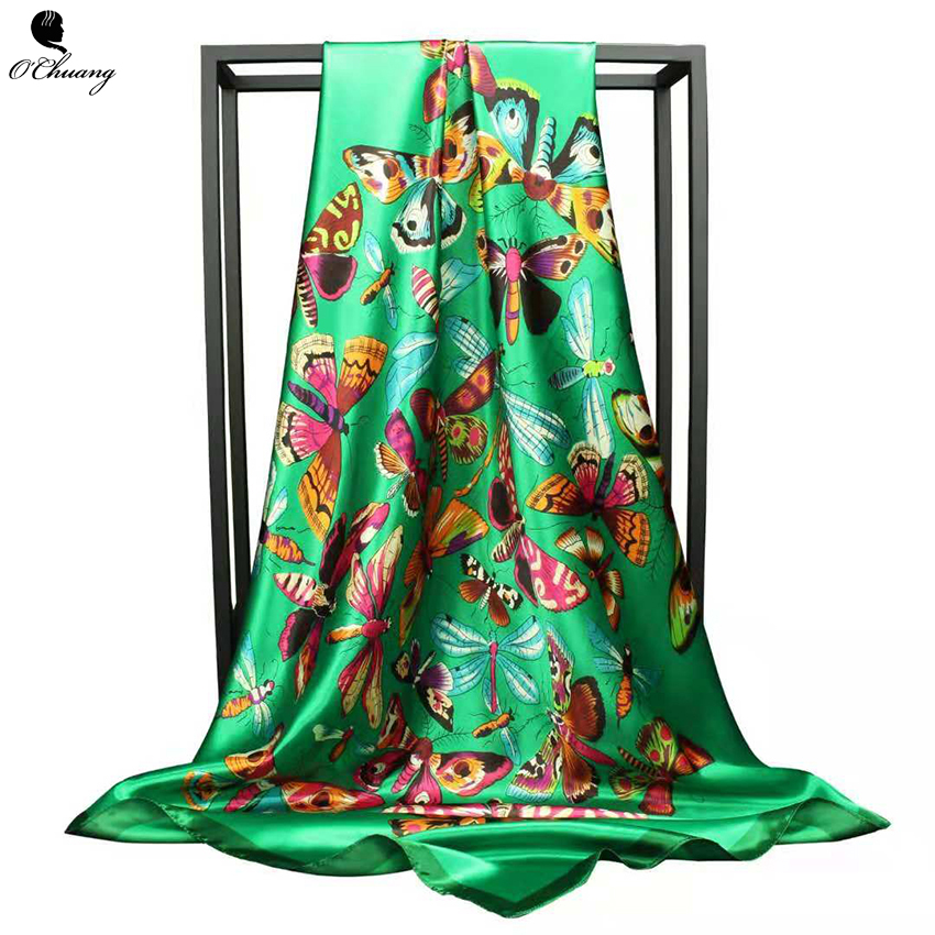 O CHUANG Fashion Scarf Luxury Women Brand Silk Scarf Women Foulard Soie Hijab Big Shawl For Ladies 90*90cm Square Head Scarves
