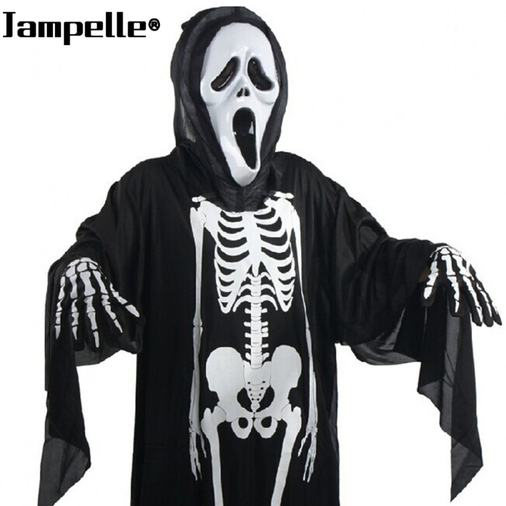 Halloween cráneo esqueleto fantasma demonio disfraces Cosplay con máscara  asustadiza adultos niños carnaval Masquerade vestido 8121b54be95be