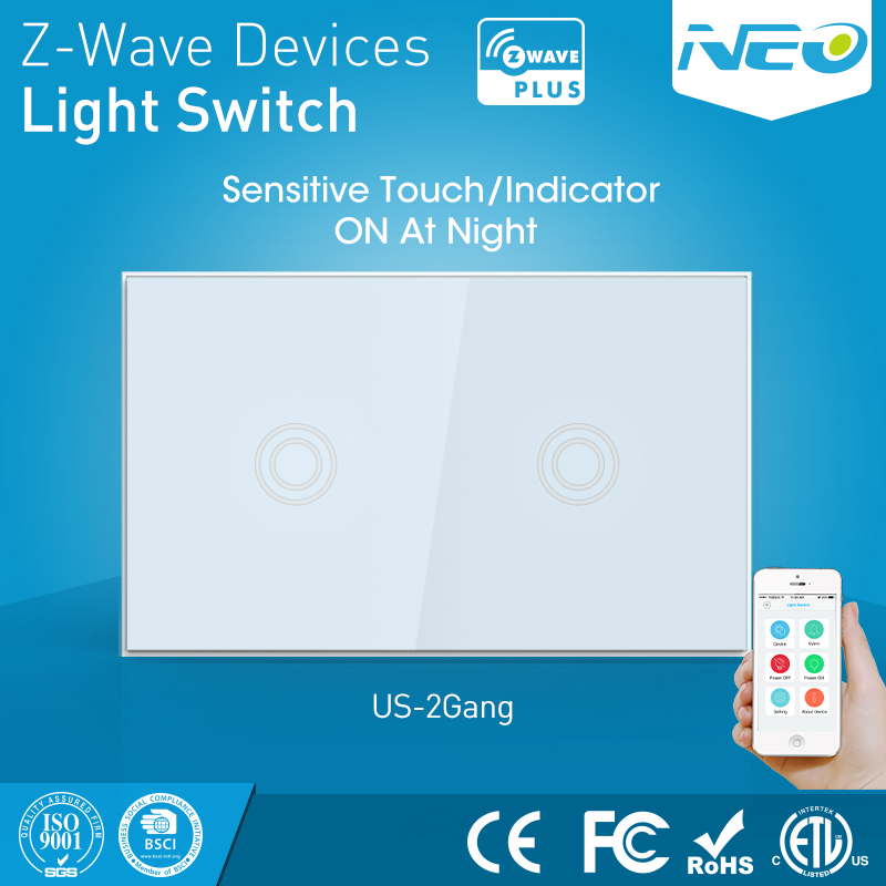 2CH Two Gang z-wave Wall Light Switch Sensor Smart Home Z wave Operating mode touch-sensitive smart home z wave wireless switch module two relays