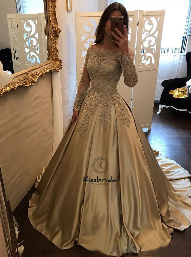 Fashion New Ball Gown Evening Dresses Long Sleeve Boat Neck Appliques Satin Prom Party Gown