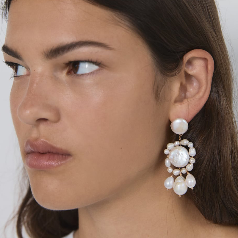 Dvacaman Dangle Earrings Wedding-Jewelry Pearl-Drop Handmade Trendy White Women for Big