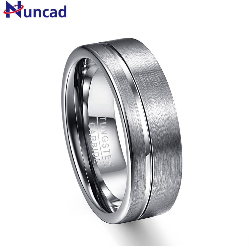 Nuncad T030R Hot Sales Silver matte surface partial groove 8MM thick tungsten steel ring Wedding Band Men