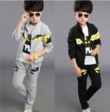 Горячая распродажа мода детей 3 шт./компл. маленькие монстры хлопок спортивные костюмы 2015 осень дети пальто + брюки мальчиков одевая комплект