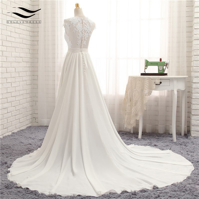 Sexy V-neck  Chapel Train Long Zipper Cap Sleeves Lace Applique A Line Beach Wedding Dress Wedding Gown SLD-W592