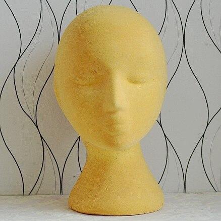 Free Shipping Mannequin Manikin Dummy Yellow Hard Foam Female Mannequin Head For Wig Jewelry Sunglass Hat Display M003 12
