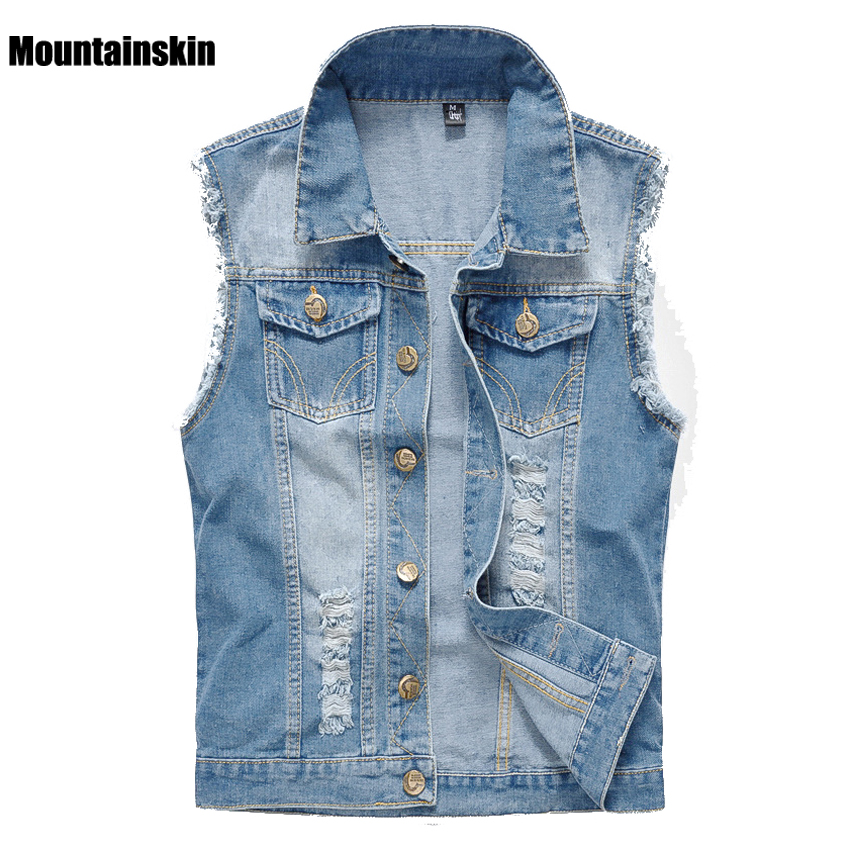 Mountainskin 2017 New Men s Denim Vest Vintage Sleeveless Washed Jeans Waistcoat Man Cowboy Ripped Fashion