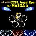 4 PÇS/SET CCFL Angel Eyes para MAZDA 2004 2008-3 Farol de HALO Anéis Kit Head Lamp Decoração Cor Branca Azul vermelho
