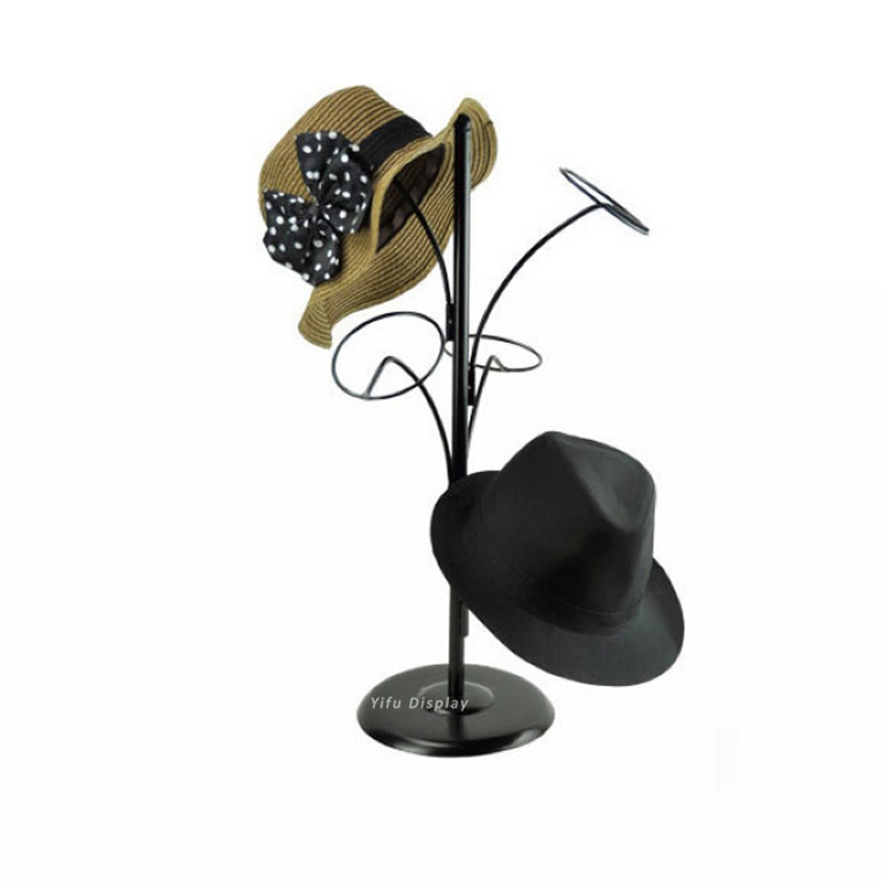Free shipping Metal Hat display stand black hat display rack hat holder cap display HH006 free shipping metal gold hat display stand polished gold cap display racks