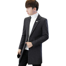 Casual Fashion Men Long Wool Blend Coat Long Sleeve Solid Cashmere Jacket Slim Single Breasted Mens