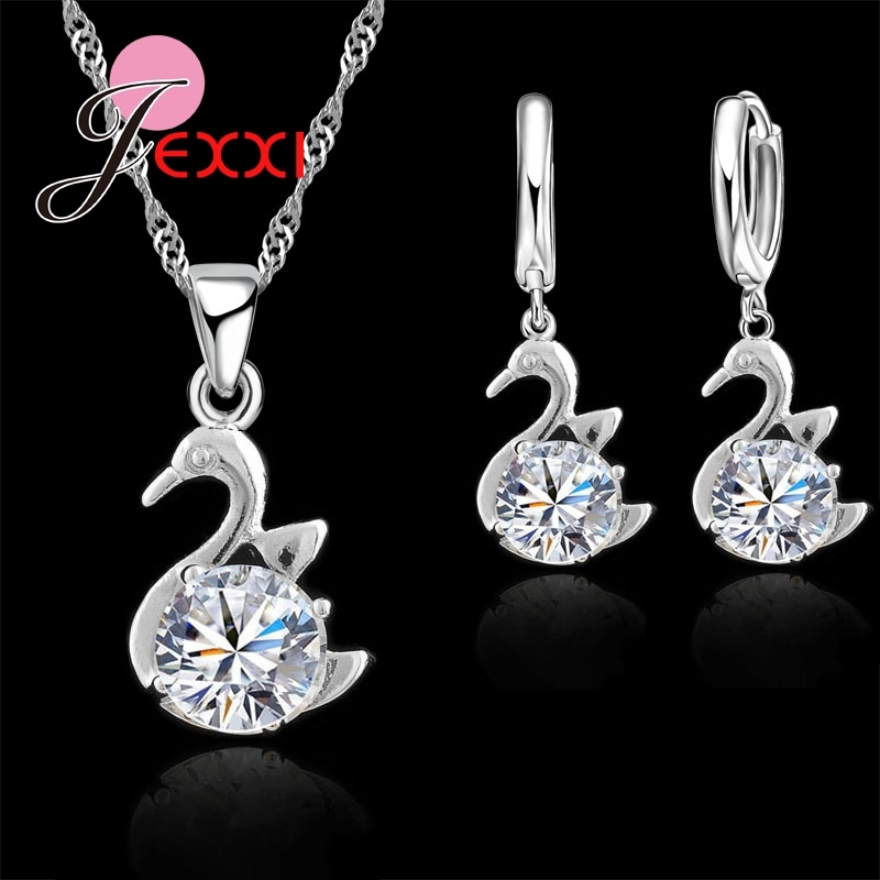 Women Genuine 925 Sterling Silver Jewelry Sets Women Austrian Crystal Swan-shaped Accessory Necklace Drop Earring Sets