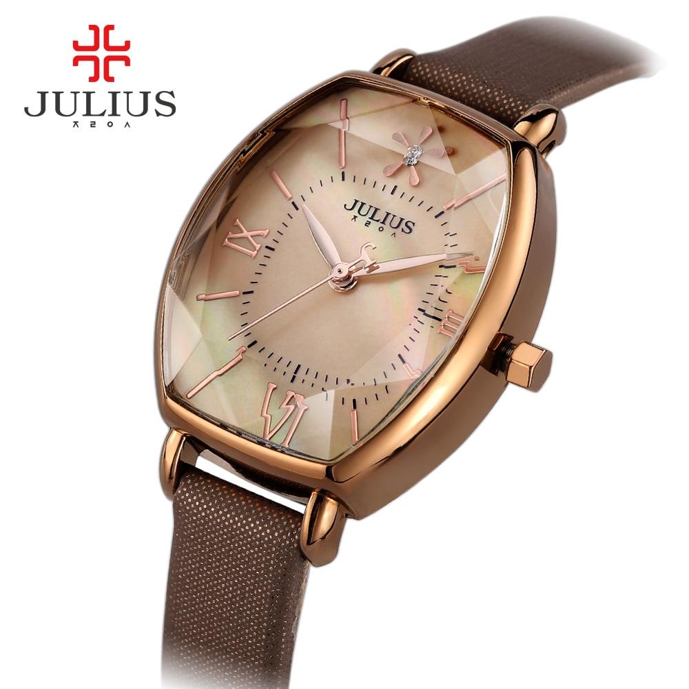 ФОТО Julius Women's Lady Watch 5 Colors Shell Japan Mov Hours Fine Fashion Dress Bracelet Leather Star Cut Girl Birthday Gift Box 920