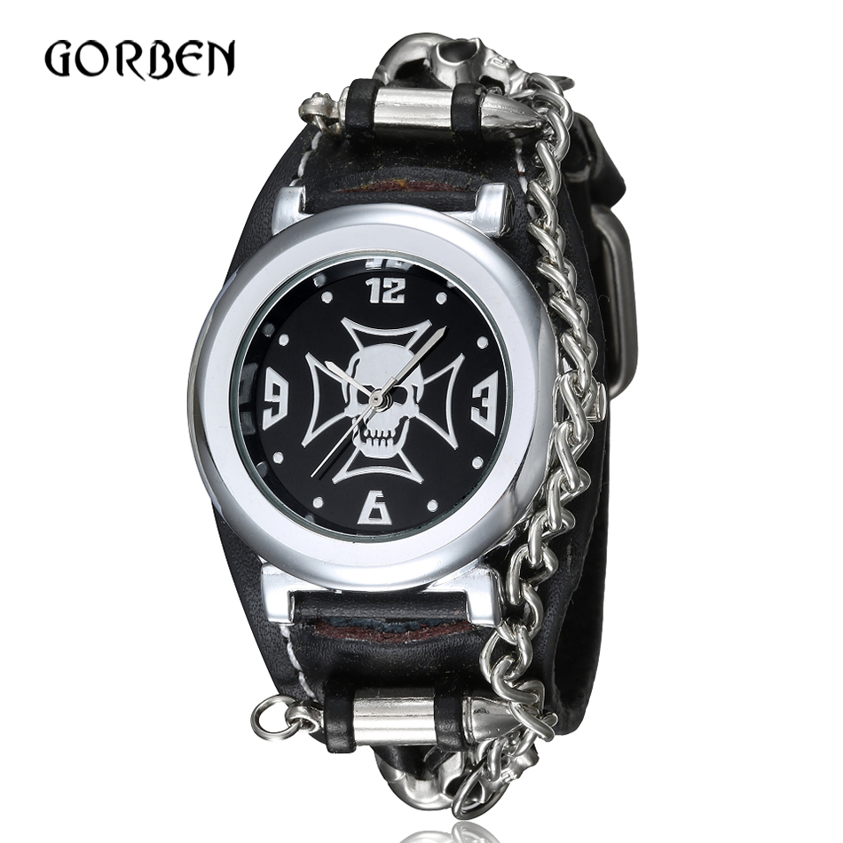 Mens Creative Punk Gothic Watch Leather Military Skull Sports Mens Quartz-watch Clock Gifts for men Relogio MasculinoMens Creative Punk Gothic Watch Leather Military Skull Sports Mens Quartz-watch Clock Gifts for men Relogio Masculino