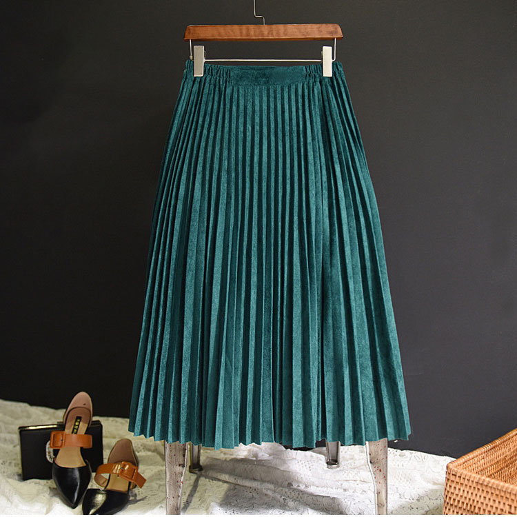 2019 New Fashion Autumn Women Suede Skirt Pink White Long Pleated Skirts Womens Saias Midi Faldas Vintage Women Midi Skirt(China)