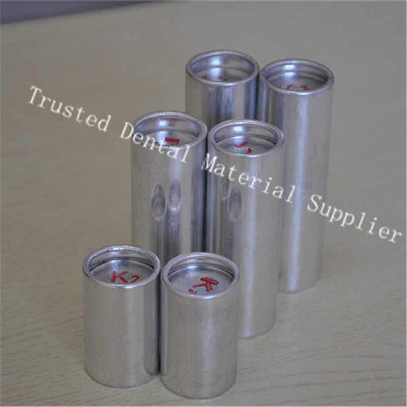 100 peças od25.5 * 77mm médio dental materiais cartucho de alumínio tubo valplast acrílico resina flexível para prótese dentaduras