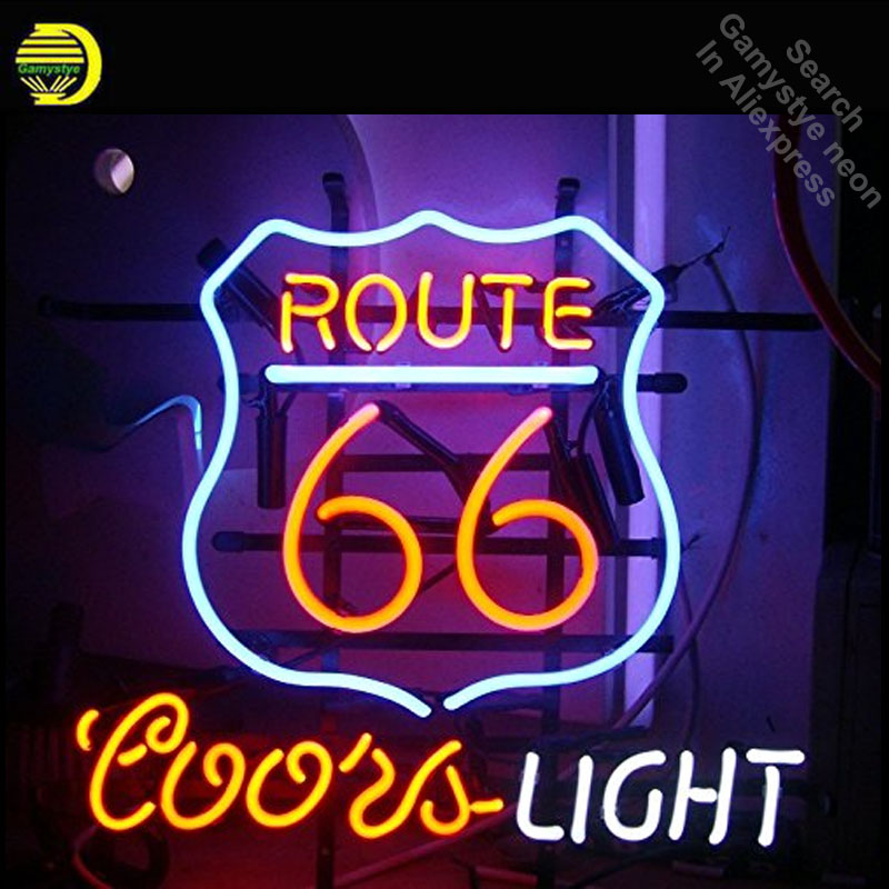 Route 66 Coors Light Neon Sign neon bulb Sign Glass Tube Custom BRAND LOGO neon light Recreation Outdoor Iconic Sign arcade lamp wild at heart neon sign advertise custom logo neon bulb beer glass tube handcrafted neon glass tubes recreation room lamps 17x14