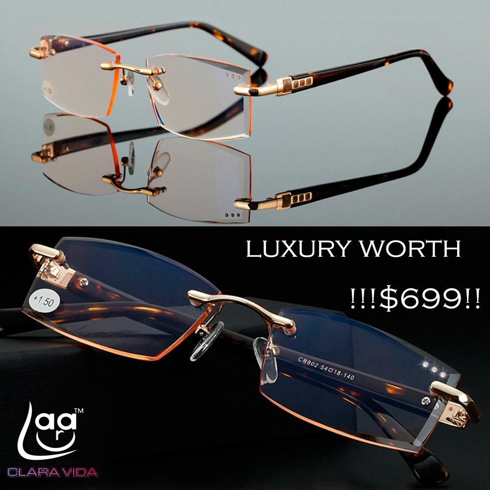 CLARAVIDA Royal Luxury Men Women Unisex Diamond Cutted Stylerish Commercial Dignity Special Reading Glasses+1 +1.5 +2 +2.5 +3