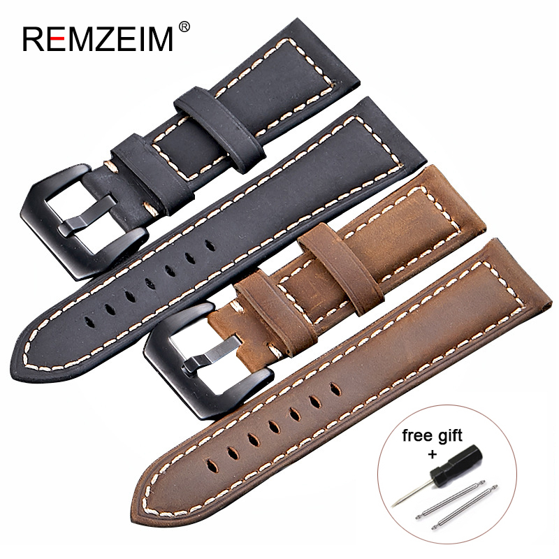High Quality Genuine Leather Watchband 20mm 22mm 24mm 26mm Crazy Horse Nubuck Sports Outdoor Watch Band Buckle Strap wholesale wholesale 10pcs lot 20mm 22mm 24mm 26mm genuine leather crazy horse leather watch band watch strap man watch straps black buckle