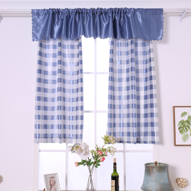 blue kitchen valance inside cabinet lighting budloom white jacquard plaid short curtains for bedroom balcony window shading