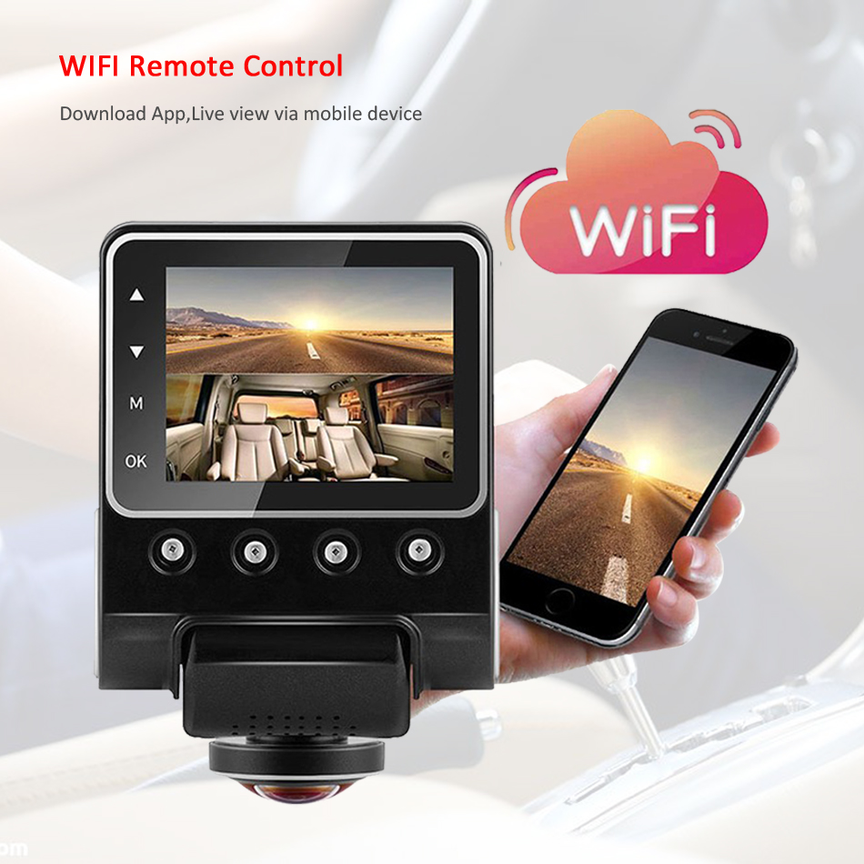 ANSTAR 360 Degree View Angle WiFi Car DVR Camera Full HD 1080P Night Vision Dash Cam 24 Hours Monitored Video Recorder