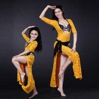 NEW! women lace belly/girls dance costumes senior headwear+belt+bra+underwear+long dress 5pcs women/girls belly dance dress