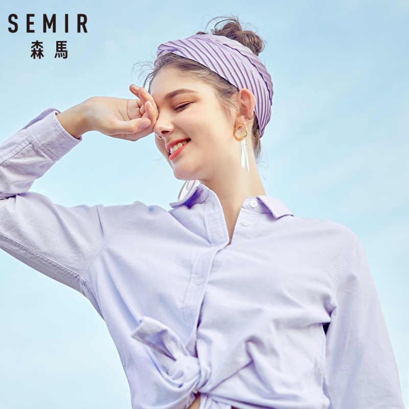 سمير النساء 100% القطن صالح سليم قميص مع طوق المرأة طويلة الأكمام قميص أعلى مع مستدق الخصر زر في العجل لربيع