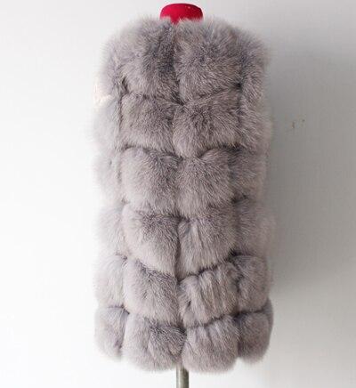 Linhaoshengyue 73 см длинные Высокое качество меха лисы Жилет натуральным лисьим мехом женские жилет - Цвет: silvery