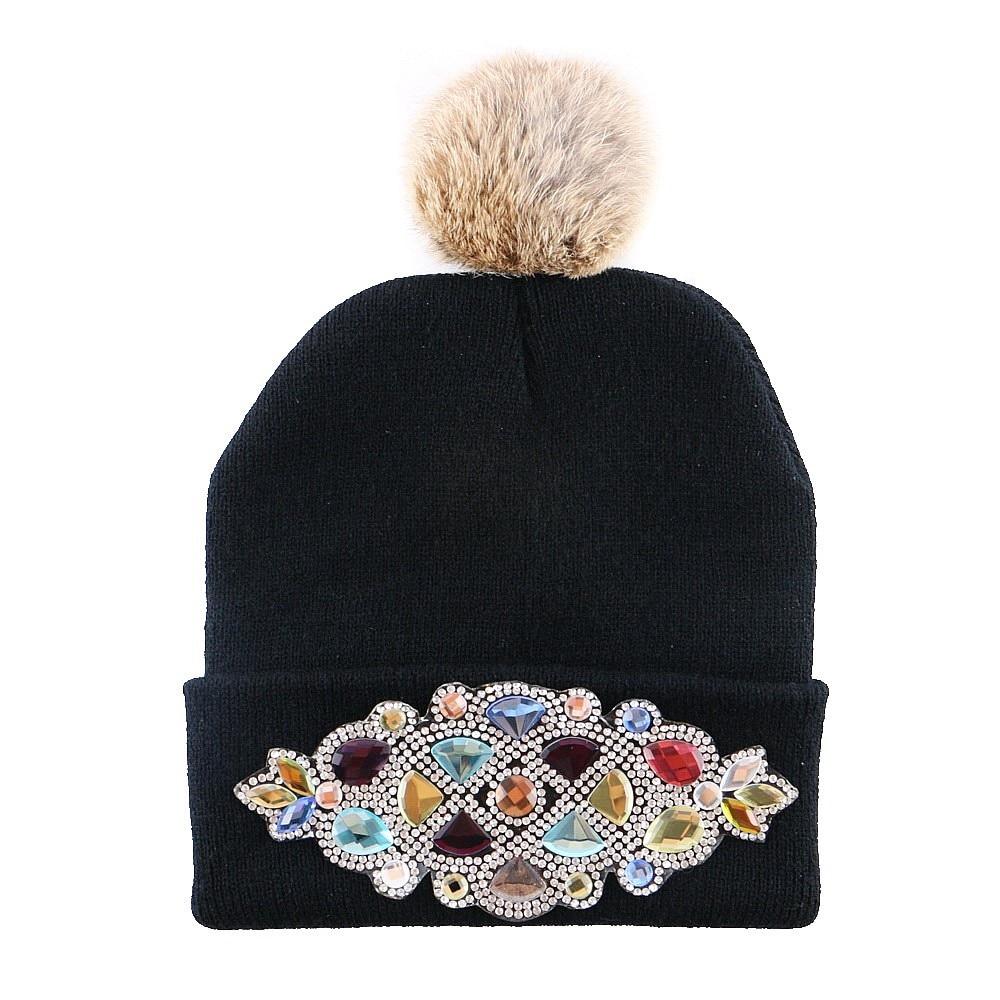 wholesale boy girl floral beauty winter hat children luxury knitted beanie hats cap longer rhinestone flower cute gorros kids
