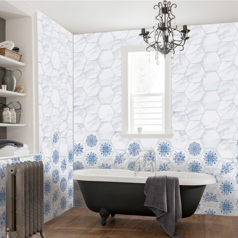 Wall Tiles Stickers Self Adhesive For Bathroom and Kitchen Waterproof PVC Wallpaper Home Decor Living Room Floor Stickers 10Pcs in Wall Stickers from Home Garden