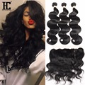 Ear To Ear Lace Frontal Closure With Bundles 8A Malaysian Body Wave Human Hair With Full Frontal Lace Closure 13x4 With Bundles