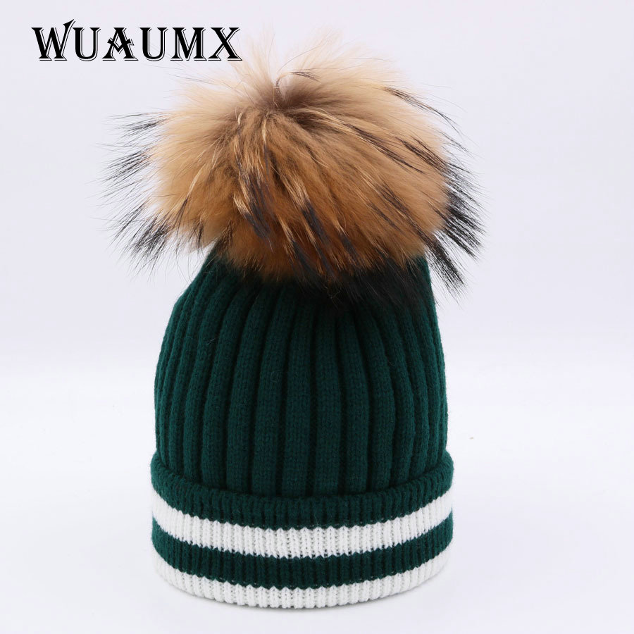 Wuaumx NEW Brand Beanies Winter Hat For Women Real Raccoon Fur Pom Poms Ball Winter Hat Female Knitted Skullies Casual Girls Cap new star spring cotton baby hat for 6 months 2 years with fluffy raccoon fox fur pom poms touca kids caps for boys and girls