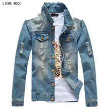 2017 Spring Autumn Light Blue Ripped Denim Jacket Men Slim Fit Jeans Jacket Men Single Breasted Veste Homme With Pockets XXXL