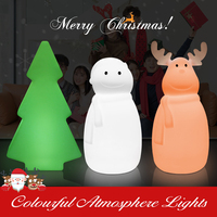 Christmas RGB Night Light Elk/Snowman/Xmas Tree Colourful Luminaria LED Lamp with Remote Control for Home Event Party Decoration