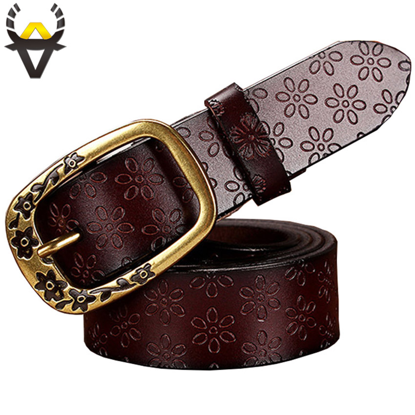 Fashion Genuine Leather Belts For Women Vintage Floral Pin Buckle Strap For Jeans High Quality Second Layer Cow Skin Belt Woman