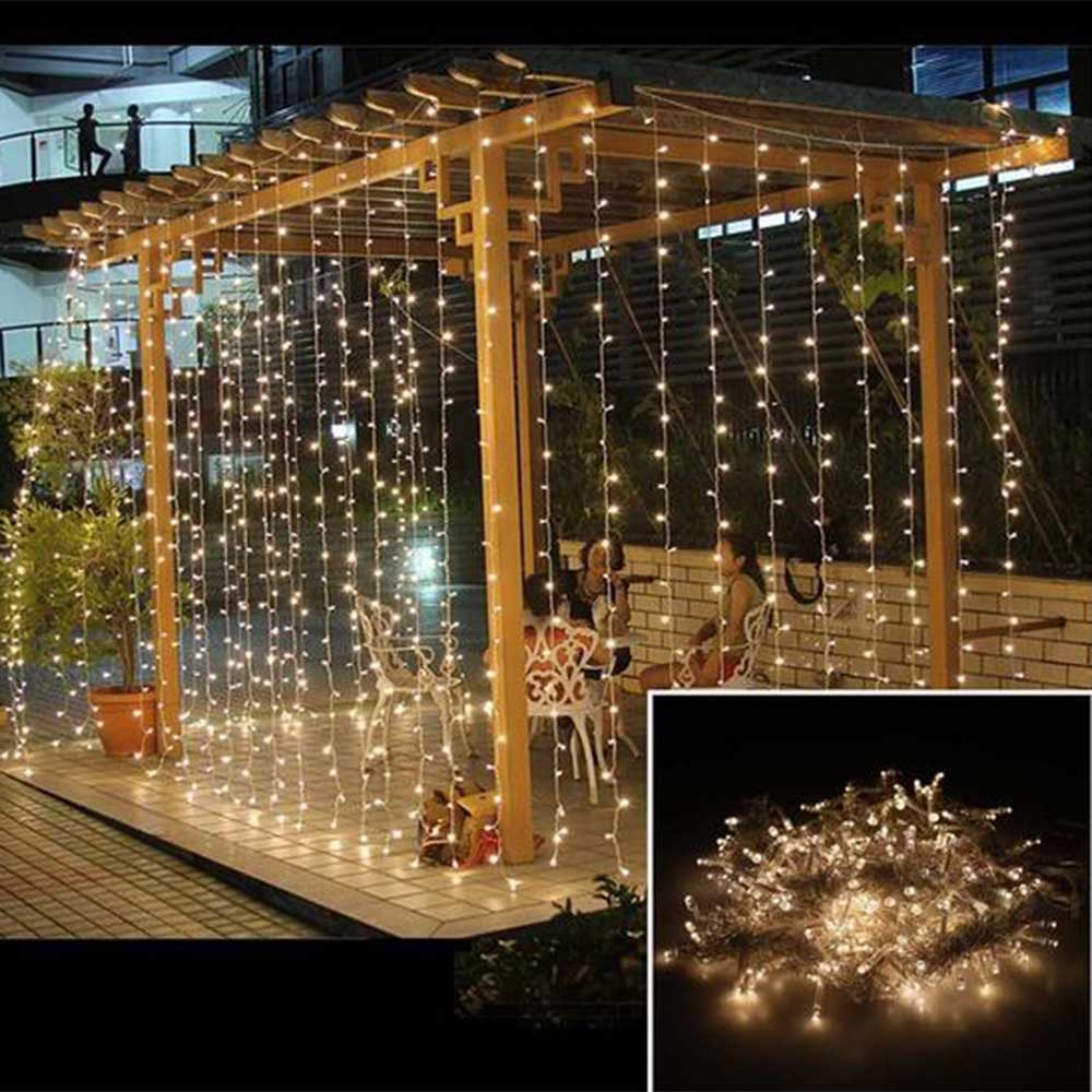 3x1M LED Wedding Fairy Light Christmas Garland LED Curtain String Light Outdoor New Year Birthday Party Garden Decoration