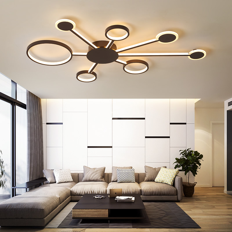 New Design Modern Led Ceiling Lights For Living Room Bedroom Study Room Home Color Coffee Finish