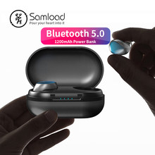 Samload Bluetooth 5.0 Headset Tahan Air Nirkabel Earphone Stereo 3D Suara dengan 1200 M Ah Pengisian Kotak untuk Apple Iphone 6 S 7 8 X(China)