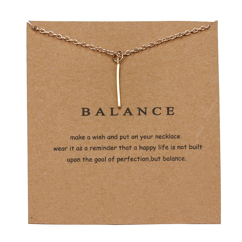 1pc Simple Balance Alloy Bars Charm Wish Card Choker Collier Necklaces Links Chains Gold Plate For Women Statement Jewelry Gift image