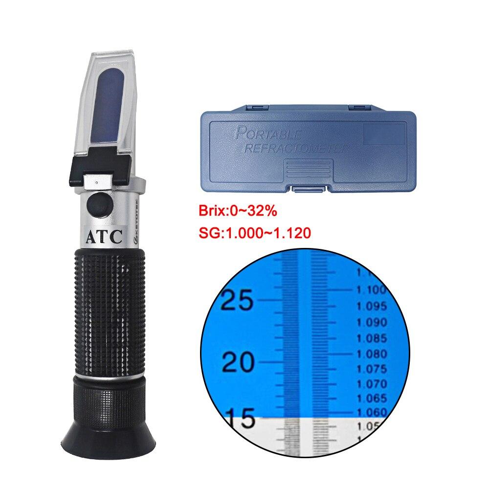 0-32% Réfractomètre Brix Sucre Bière ATC Refratometro Degré Testeur Mesure Wort SG Alcool de Boisson Alcoolisée Intelligente 1.000-1.120