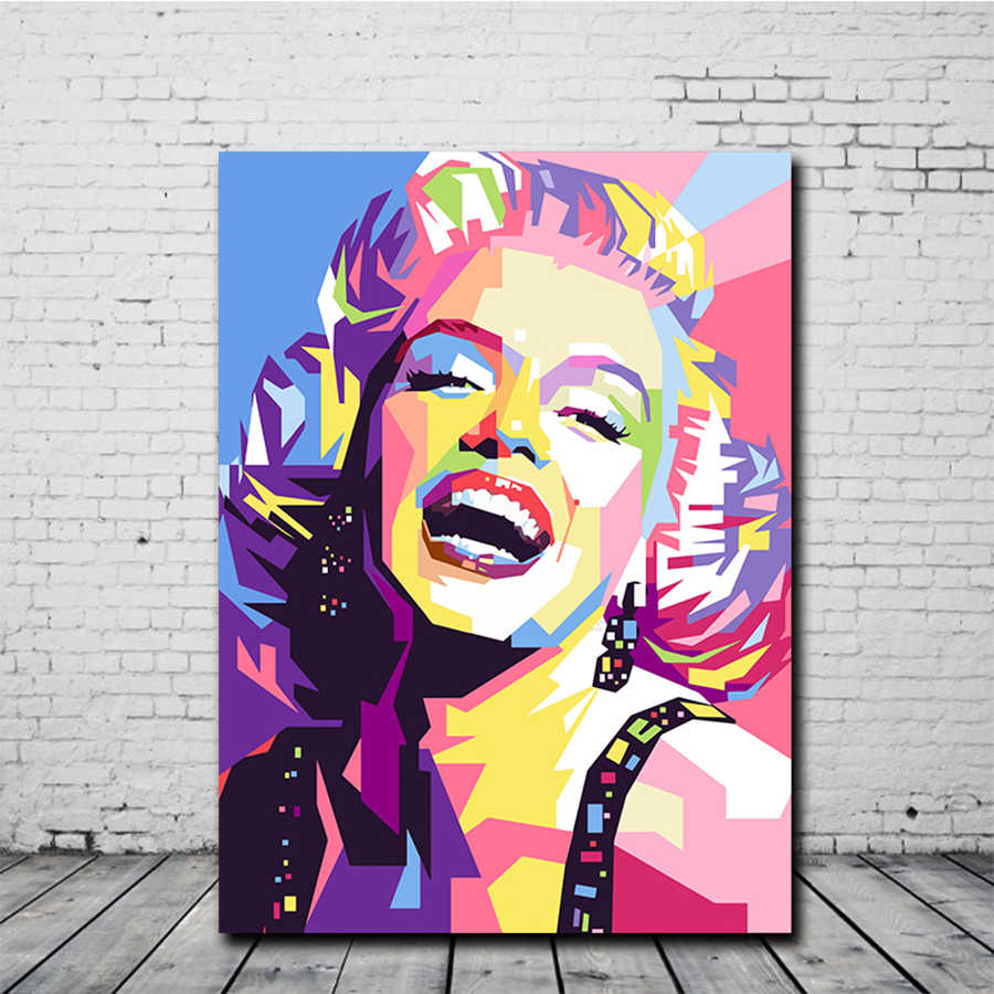 Colorful Marilyn Monroe Canvas Painting Portrait Abstract Posters and Prints Canvas Wall Art Pictures for Living Room Home Decor