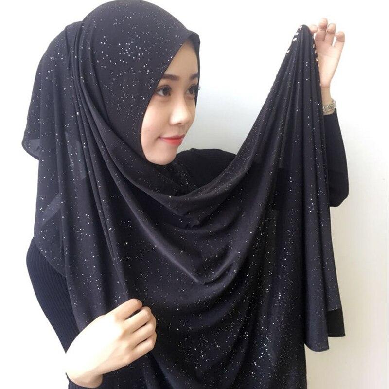 Women Abaya Islam Sequin Crinkle Maxi Chiffon Inner Hijab Turbante Mujer Shawl Muslim Long Turban Stole Wrap Jilbab Headscarf