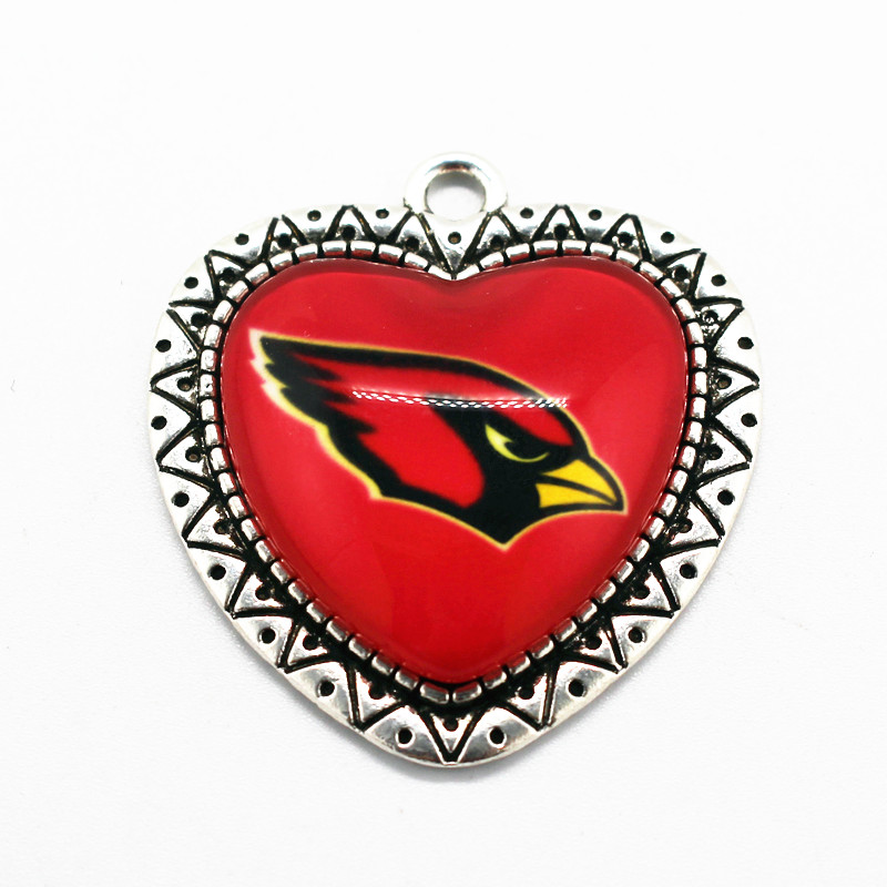 High Quality Arizona Cardinals Football Team Alloy Glass Pendant Heart Dangle Charms 10pcs/lot Fit Necklace Bracelet DIY Jewelry