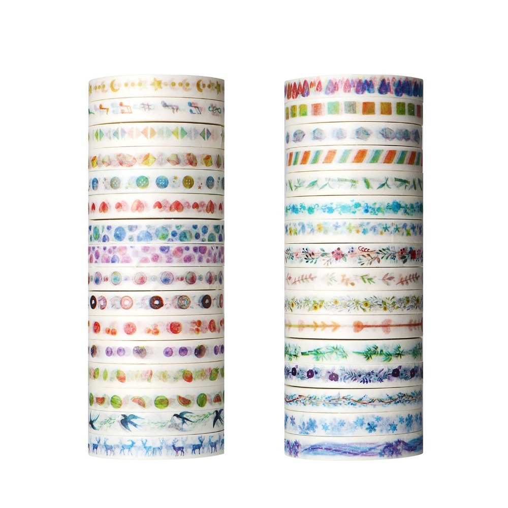 26 Plants Flowers Watercolor Painting Decorative Tape Adhesive Masking Washi Tape Paper Stickers For Scrapbooking masking tape crepe paper sticky decorative adhesive tape traceless painting custom made 5 1220mm 20m x 4 rolls 80m