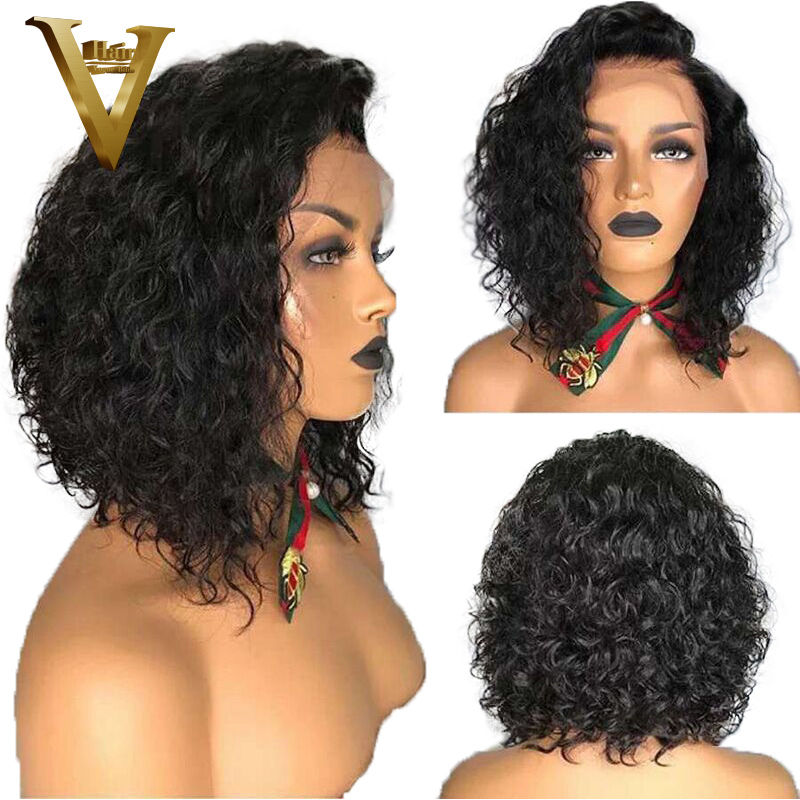 150 Density Short Curly Lace Front Human Hair Wigs Pre Plucked With Baby Hair Brazilian Remy