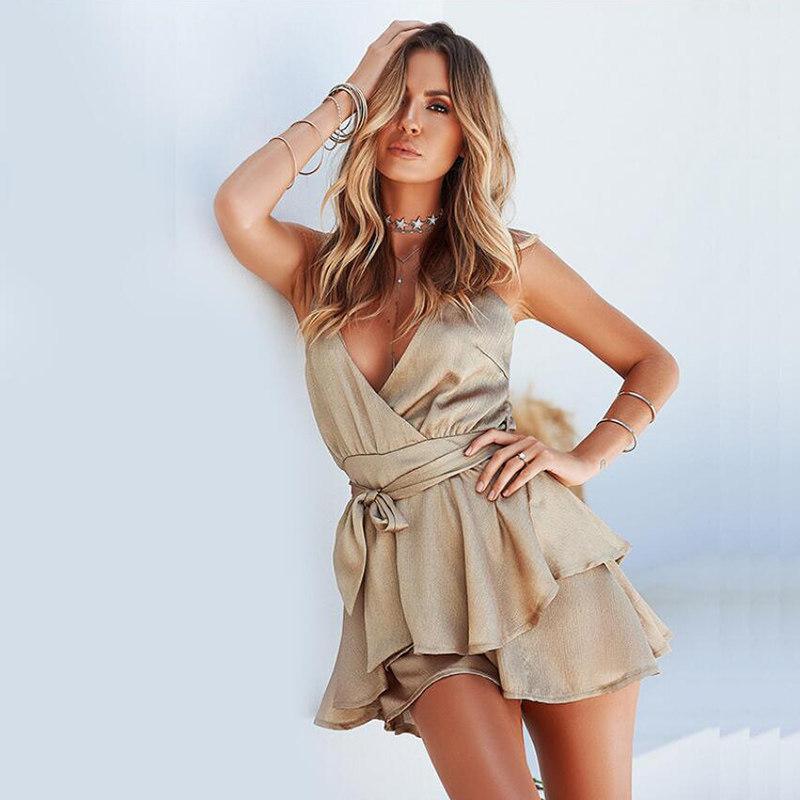 Lorscarls Backless Strap Satin Playsuits Rompers Women V-Neck Ruffles Sashes Bodysuit Female Sexy Slim Fit Summer Jumpsuits