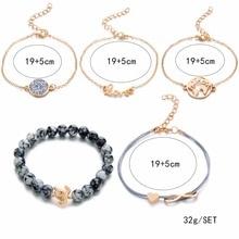 DIEZI Bohemian  Turtle Charm Bracelets Bangles For Women Fashion Gold Color Strand Bracelets Sets Jewelry Party Gifts