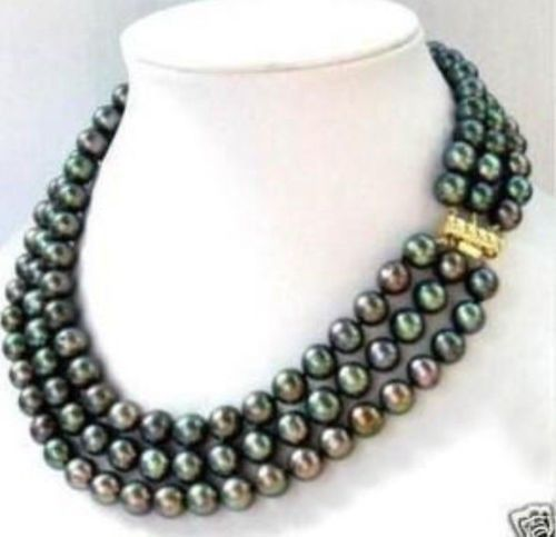 ELEGANT 3 ROWS 8-9MM AAA++ BLACK TAHITIAN PEARL NECKLACE 14K 17-19INCH
