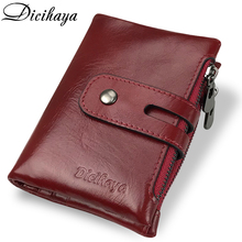 hot deal buy dicihaya genuine leather women wallet brand cash purse girl small red clutch coin purses holders leather double zipper wallets
