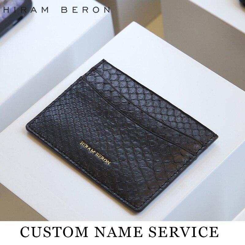 Hiram Beron Läder Kort Hållare Unisex Python & Lamb Skin Kreditkort - Plånböcker - Foto 2